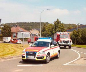 Feuerwehrautos der VG auf dem Weg ins Katastrophengebiet